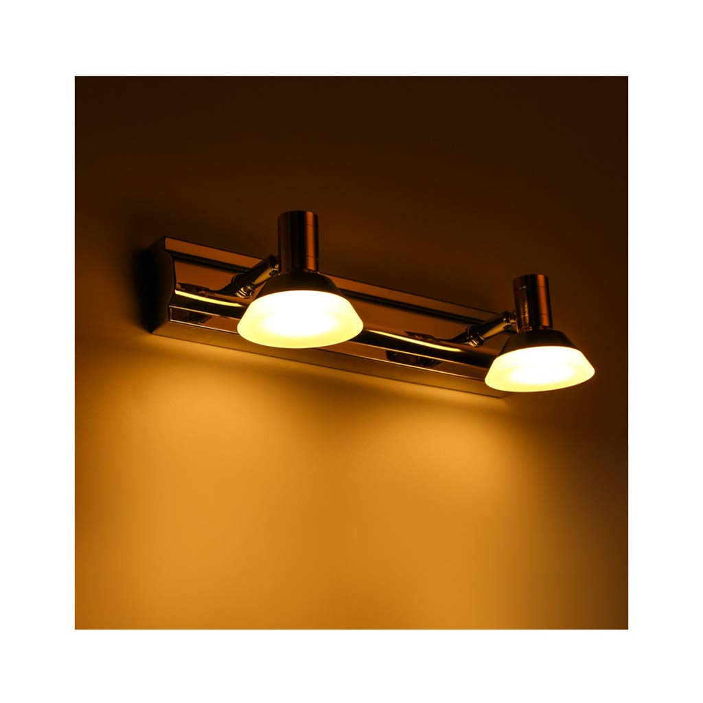 badezimmerlampe Badezimmer LED Spiegel Scheinwerfer, Edelstahl Feuchtigkeitsfest Und Anti-Fog Wasserdichte Wandleuchte Spiegel Kabinett (Farbe   Warmes weißes Licht-2 Köpfe)