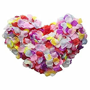 Skyshadow 1000 Pcs Colorful Artificial Flowers Monolithic Rose Petals Wedding Silk Petals Romantic Proposal 2