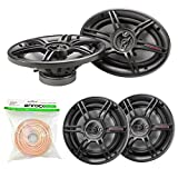 xplod 1000 watts - Car Speaker Package - 2x Crunch CS653 6.5-Inch Full Range 3-Way Black Upgarde Audio Stereo Coaxial Speakers + 2x CS693 6x9-Inch Speaker Bundle Combo With Enrock 50 Foot 18 Gauge Speaker Wire