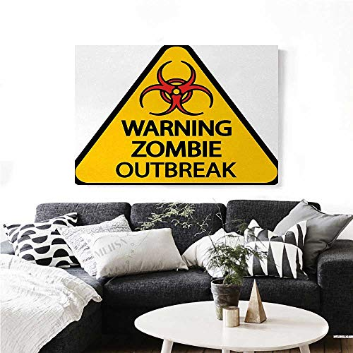 homehot Zombie Art-Canvas Prints Warning The Zombie Outbreak Sign Cemetery Infection Halloween Graphic Modern Wall Art for Living Room Decoration 48