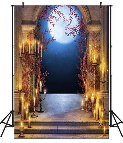 Duluda Halloween Night Candles Moon 7x5ft Vinyl Photography Backdrop Customized Photo Background Studio Prop -