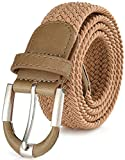 Marino Braided Stretch Belt - Fabric Woven Belt - Casual Weave Elastic Belt for Men and Women (Antelope Beige ,L)