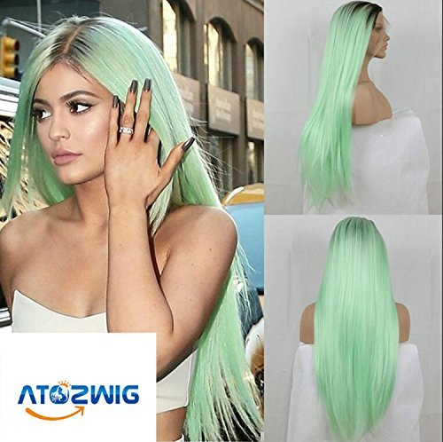 Atozwig Kylie Jenner Christmas Mint Green Ombre Wig Dark Brown Long Straight Synthetic Lace Front Wig Heat Resistant Fiber Wig