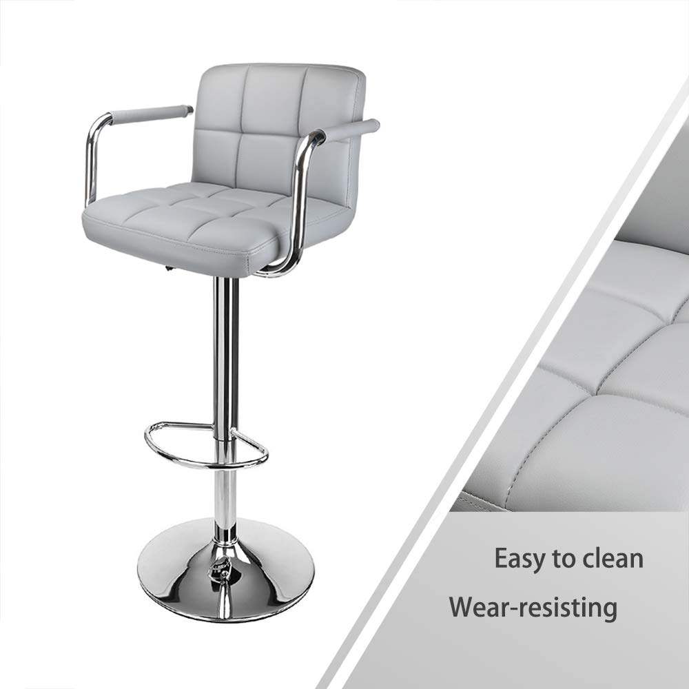 Gray with Chromed Framework Soft Padded Chairs,Set of 2 360 Degree Rotary Display4top Bar Stools