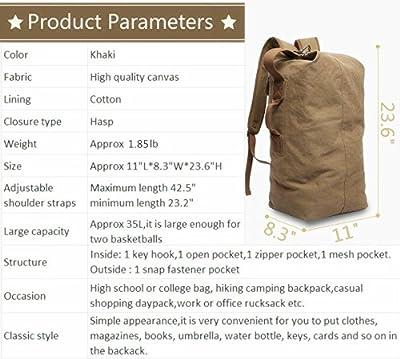 KAKA Travel Backpack Duffle Backpack Canvas Hiking Backpack Vintage Rucksack Large Capacity 35L …