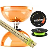 Orange Cyclone Quartz 2 Diabolo Set w/ Wooden Diablo Sticks & Accelerate Diabolo String
