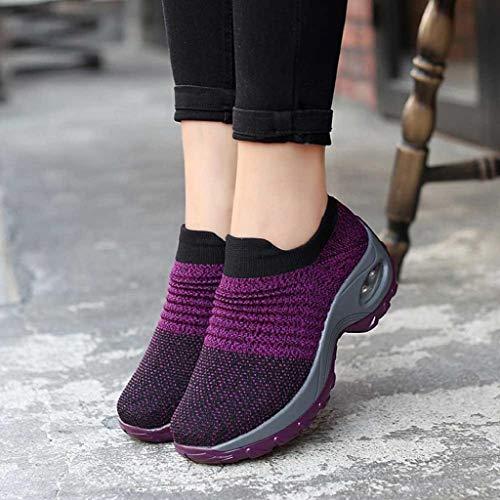 Scarpe Donne Con Donna Fondo Cushion Air Abcone Shoes Soft Rocking Viola Fitness Zeppa Camminare Rete Stivali All'aperto Comodo Coste Invernali A Spesse Casual dqI8XIw