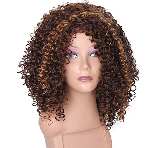 Afro Curly Wigs (ForQueens Kinky Curly Afro Wig Women Brown Two Tone Mixed Color Fluffy Wigs Synthetic Natural Heat Resistant)