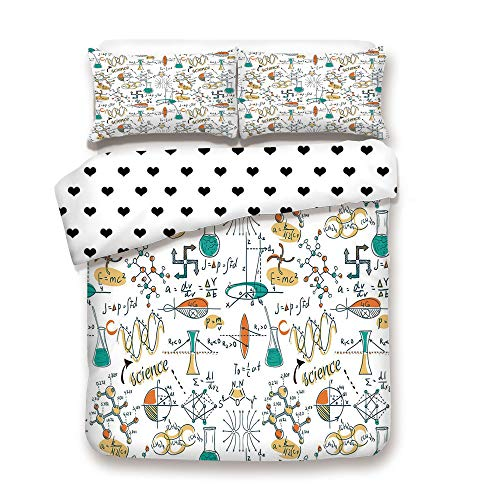 Duplex Print Duvet Cover Set Queen Size/Science Lab Objects Education Themed Drawing Scientific Formulas Biology Chemistry/Decorative 3 Piece Bedding Set with 2 Pillow Sham,Multicolo,Best Gift For You