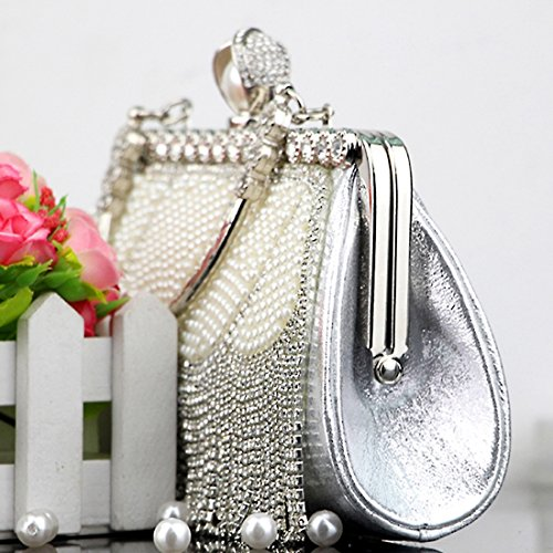 Sparkly Evening Diamante Wedding Crystal Party TOYIS with Handbags 4 Bag Rhinestone Clutch Tassel Handbags Bags Evening Prom Pearl Women's IqBaayRw