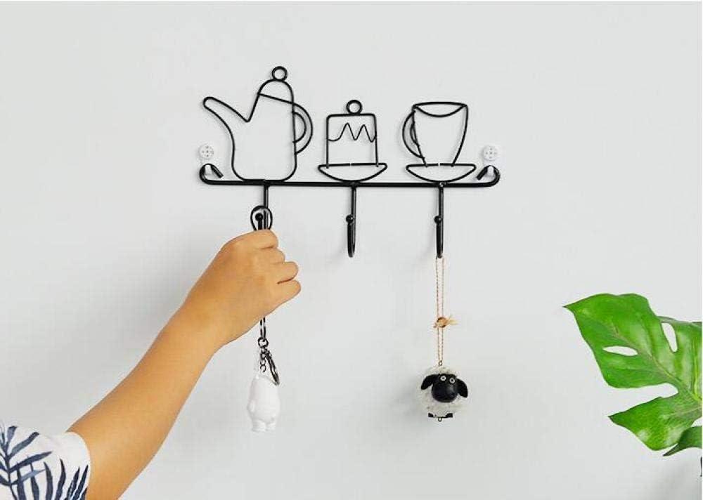 General supplies Gancho de Pared, Percha de Cocina de Hierro Negro, Caja de Almacenamiento montada en la Pared, Gancho de Llave Creativa, Accesorios de decoración del hogar-Tetera