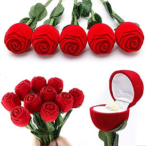 Rings Box Rose Head With Long Stem Long Stemmed Flower Jewelry Box Ring Box Packaging for Wedding Rings / Valentine's day / Engagement Ring (4 pc) -