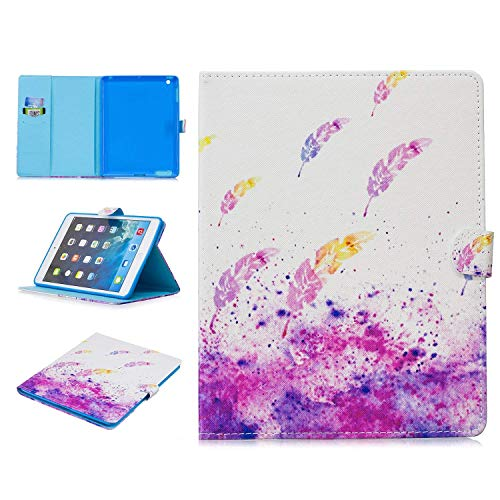 iPad 4 Cover, iPad 2 3 4 Case, Cookk Slim Fit Folio Case with Auto Sleep/Wake Feature [Card Slots] Stand Smart Cover for Apple iPad 2 3 & 4th Generation with Retina Display, Watercolor Feather