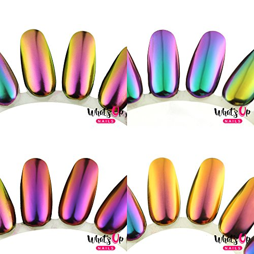Whats Up Nails - 4pcs Magic Shifting Powders (Alchemy, Sunset, Fairy, Fantasy) Pigment with Multi Chrome Effect (Gel Coat Fantasy)