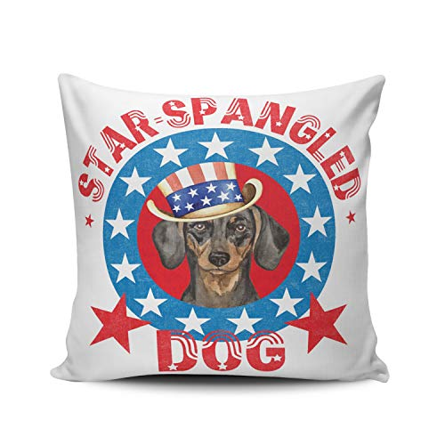 Fanaing Red Blue and White Patriotic Dachshund Pillowcase Home Sofa Decorative 16x16 inch Square Throw Pillow Case Decor Cushion Covers One-Side Printed