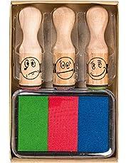Brunnen 1048692 zestaw stempli (nagroda Smiley, 3 stemple z motywem z drewna, w zestawie poduszka do stempli w 3 kolorach)