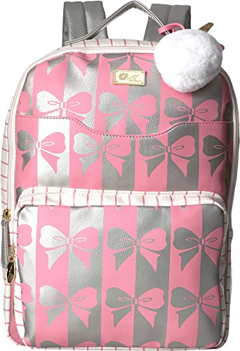 Luv Betsey Women's Tyler PVC Backpack w/Front Slip Laptop Pocket and Front Zip Pocket Pink/Silver One ()