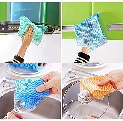 KEKEDA Toalla de Limpieza desechable, Toallas de Papel Paño de Limpieza Antiadherente para Cocina, no Tejido, de usos múltiples, 25 Hojas/Rollo (Azul): ...