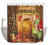 LB Christmas Tree Gift Fireplace Shower Curtain Set Socks Decor Bathroom Curtain with Hooks 72x72 inch Polyester Fabric Bathtub Curtain Mildew Resistant Waterproof