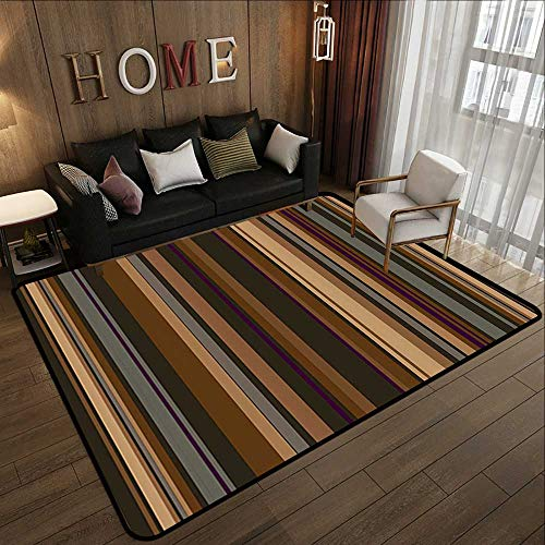 Rugs,Abstract Decor,Retro Vertical Striped Background in Different Shades of Earthen Tones Image,Tan Brown 78.7