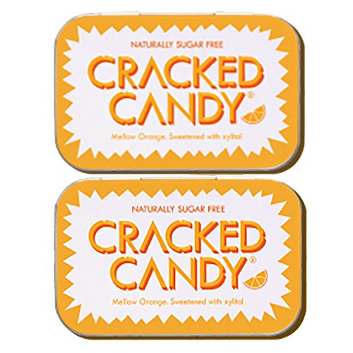 Cracked Candy Mellow Orange (Twin Pack) Sugar free Xylitol Candy Vegan, Diabetic Friendly and Non GMO (Mints Pack Twin)