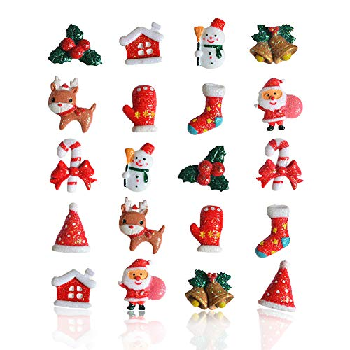 Palksky Christmas Miniature Ornaments Kit - Christmas Holiday Themed DIY Resin Decoration (20 Pcs) Great for Christmas Goody Bag Fillers or Christmas Stocking Stuffers