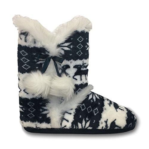 Navy Slipper für Adelphe Julia Dunlop Stiefel Damen DLH7885 z7T7Hf