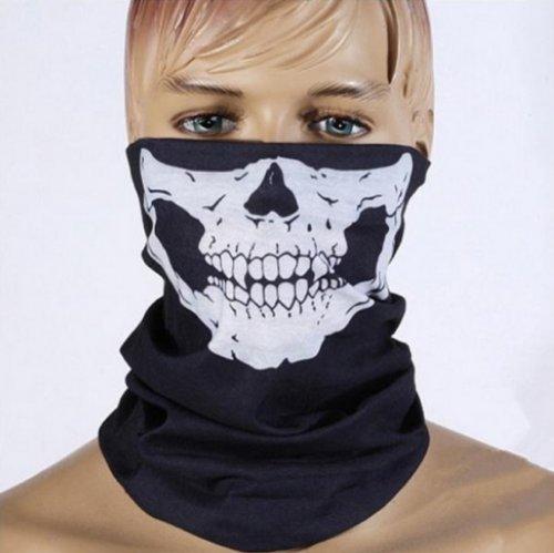 MAZIMARK--Halloween Props Skeleton Ghost Skull Face Mask Biker Balaclava Half Face -