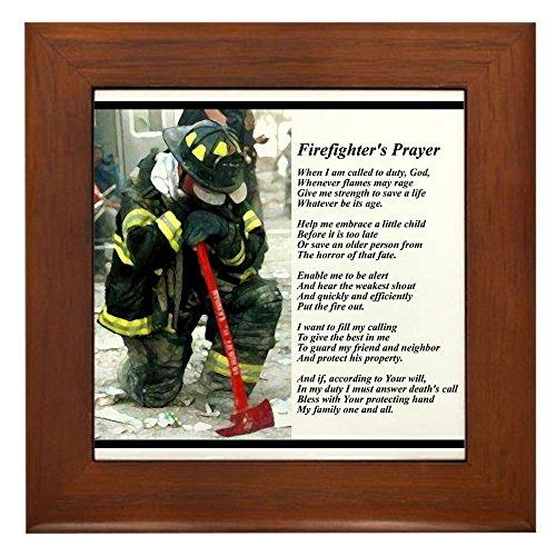 CafePress - Old Version Firefighter Prayer - Framed Tile, Decorative Tile Wall Hanging