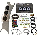 GlowShift 2003-2009 Dodge Ram Taupe Diesel Gauge Package w/ White 7 Color 60 PSI Boost, 2400 EGT & Trans Temp Gauges