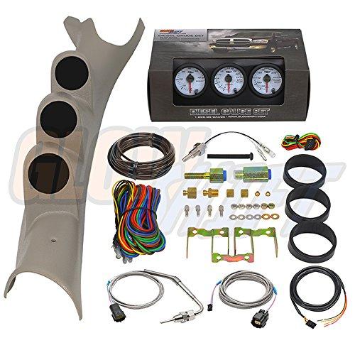 2005 Dodge 3500 Diesel (GlowShift 2003-2009 Dodge Ram Taupe Diesel Gauge Package w/ White 7 Color 60 PSI Boost, 2400 EGT & Trans Temp Gauges)