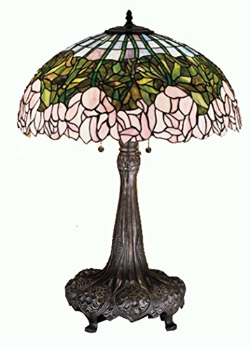 Bronze Cabbage Rose - Meyda Tiffany 30513 Cabbage Rose Table Lamp, 31