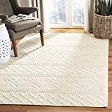 Safavieh VRM211A-3 Vermont Collection Ivory Premium Wool Area Rug, 3′ x 5 For Sale