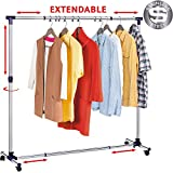 Tatkraft New York Heavy Duty Double Rail Adjustable Telescopic Rolling Clothing and Garment Rack Stainless Steel