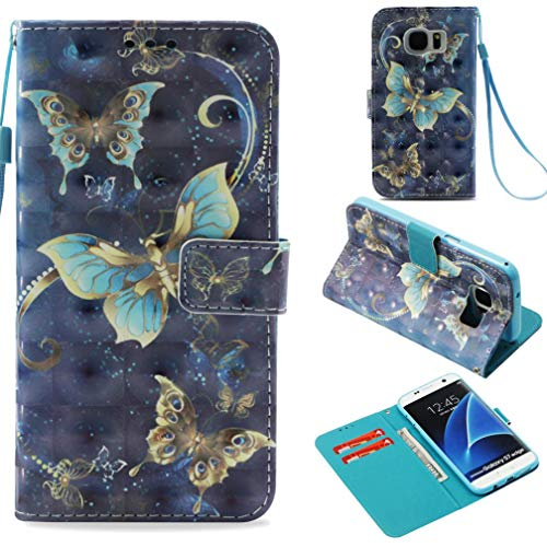 Galaxy S7 Edge Case,Durable 3D Printing Pu Leather Case Flip Cover with Inner Soft Bumper Shockproof Wallet Shell Cover with Magnetic Closure for Samsung Galaxy S7 Edge -Gold-Rimmed Butterfly