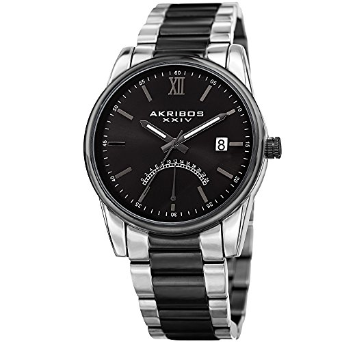 Akribos XXIV Black and Silver Two Tone Men's Bracelet Watch – Fashion - AK962TTB ()