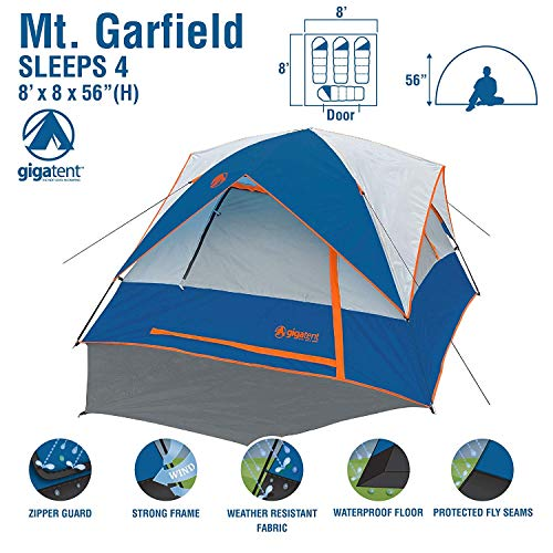 GigaTent 4 Person Camping Tent - Spacious, Lightweight, Heavy Duty Backpacking Tent - Weather and Flame Resistant Outdoor Hiking Dome Tent - Fast and Easy Set-Up - 8