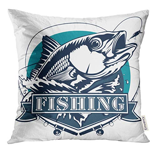 VANMI Throw Pillow Cover Black Fish Red Snapper with Rods and Ocean Waves Fishing White Bass Fisherman Decorative Pillow Case Home Decor Square 18x18 Inches Pillowcase (Best Rod For Redfish)