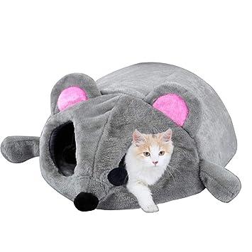 Skyoo Cama de ratón Gris para Gato pequeño Perro Cueva Cama con Alfombrilla extraíble, Antideslizante, 50 x 40 x 21 cm: Amazon.es: Productos para mascotas