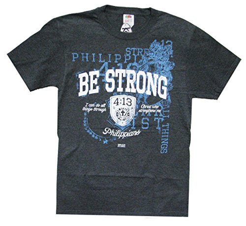 Ptshirt.com-19340-Christian T-Shirt Be Strong Phillipians 4:13-Heather Gray-Small-B015AAXF2O-T Shirt Design