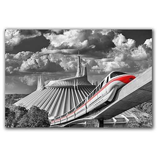 (Photo of Monorail Red and Space Mountain at Walt Disney World. This metal print comes ready to hang, and is available in sizes 8