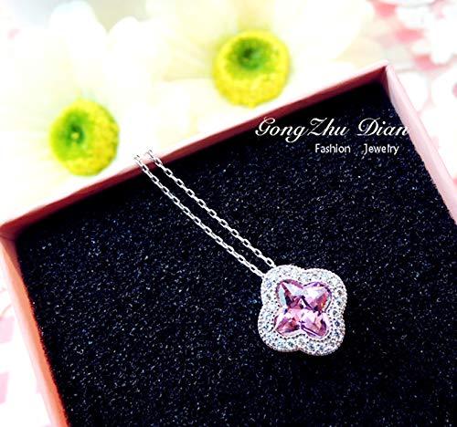 Bow 925 Sterling Silver Pin - 925 Sterling Silver pin Fashion Sweet Elegant Pink Flower Earrings Earring Ear Dangler Women Girls Short Necklace Pendant Chain Suit (Necklace (Alloy Chain)