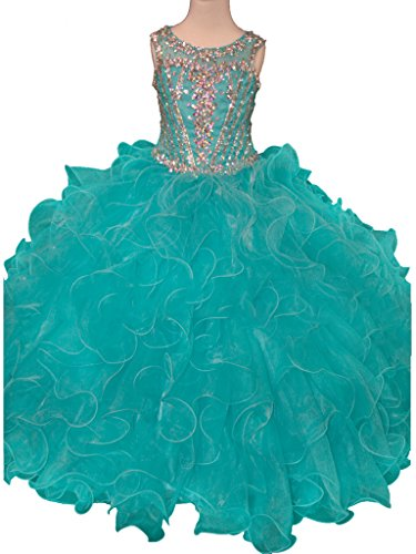 GreenBloom Girls' Layered Ruche Transparent Glitz Crystals Sleeveless Sweetheart Neck Pageant Formal Ball Gown Dress Teal 14