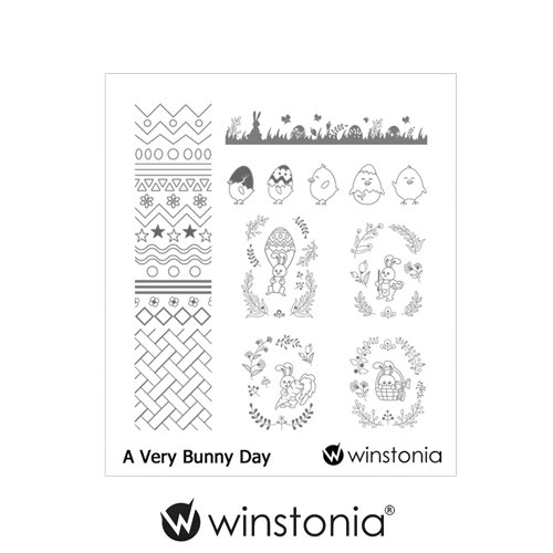Winstonia Nail Art Stamping Image Plate Manicure Cute Easter Design (A Very Bunny Day)