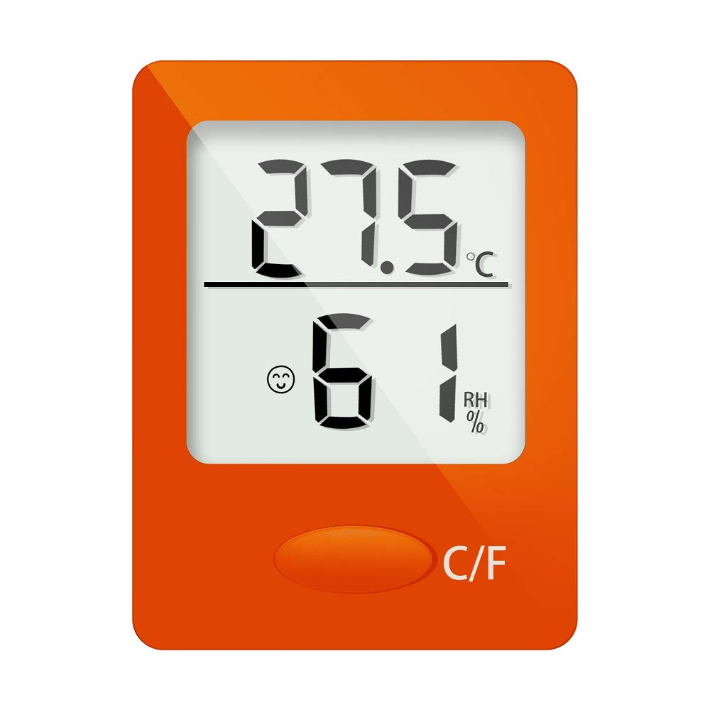 Syagain Digital Hygrometer Indoor Thermometer, Humidity Gauge Indicator Room Thermometer, Accurate Temperature Humidity Monitor Meter for Home, Mini Hygrometer(Orange)