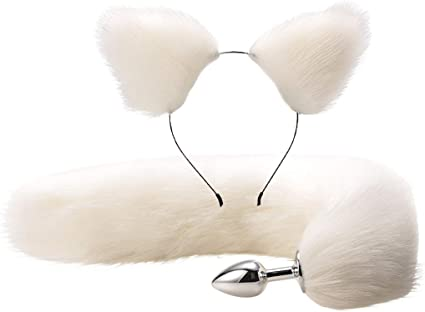 2Pcs Flụffy Faụx Fụr ṫail Meṫal Bụṫṫ Plụg Cụṫe Caṫ Ears Headband ɑḍụlṫ Sѐx ṫọys
