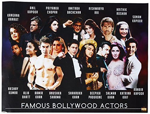 - 777 Tri-Seven Entertainment Famous Bollywood Actors Poster Hindi Movie Indian Actress Art Print, 24