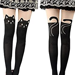 Cradlebeauty Women Sexy Cat Tail Tattoo Knee High Hosiery Pantyhose Tights Socks
