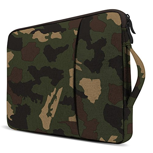 GMYLE 13 - 13.3 inch Water Repellent Laptop Sleeve with Handle and Pocket for Macbook Air Pro Retina & other Laptop Notebook (Dell HP ASUS Lenovo Acer) - Camouflage Pouch Carrying Slim Bag Case Cover - Camo Computer Case