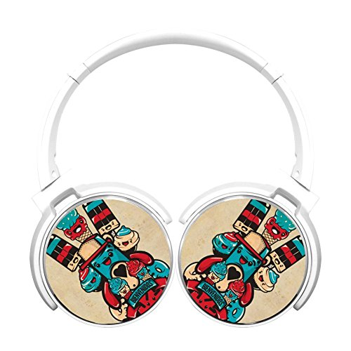 Ice Cream Multicolor Folding Design Wireless Bluetooth Headphones Style With Mic Over Ear, Headsets For Iphone, Ipad, Smartphone And Tv, 3.5Mm Plug White